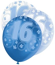 Blue Glitz 16th Birthday Latex Balloons  – Pack of 6 – Assorted Colours
