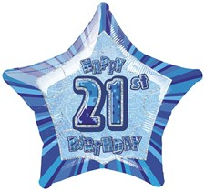 Birthday Blue Glitz 21st Birthday Star Shape Foil Balloon