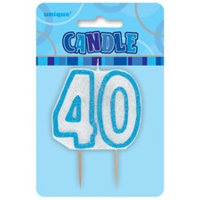 Blue Glitz Theme Number Candle – Number 40