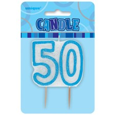 Blue Glitz Theme Number Candle – Number 50