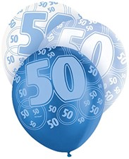 Blue Glitz 50th Birthday Latex Balloons  – Pack of 6 – Assorted Colours