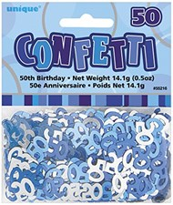 Blue Glitz 50th Birthday Table Confetti