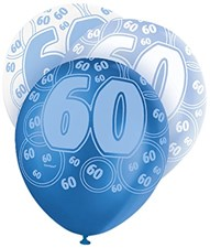 Blue Glitz 60th Birthday Latex Balloons  – Pack of 6 – Assorted Colours