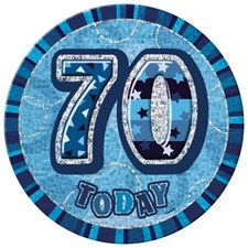 Birthday Blue Glitz Age 70 Happy Birthday Large Badge