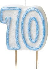 Blue Glitz Theme Number Candle – Number 70