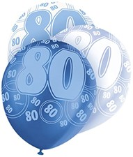 Blue Glitz 80th Birthday Latex Balloons  – Pack of 6 – Assorted Colours