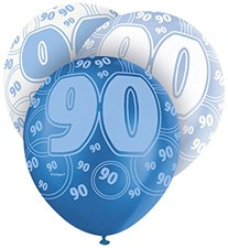 Blue Glitz 90th Birthday Latex Balloons  – Pack of 6 – Assorted Colours