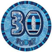 Birthday Blue Glitz Age 30 Happy Birthday Large Badge