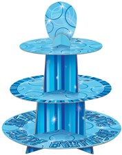 Blue Glitz Happy Birthday Cupcake Stand with Personalised Age Stickers