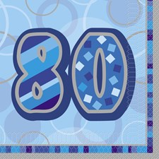 Blue Glitz 80th Birthday Napkins  – Pack of 16