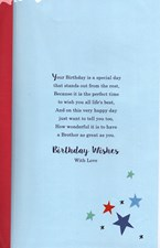 Birthday Brother 3-D Large Card - Stack of Presents and Stars