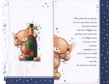 Birthday Age 40th Brother Card - Bear & Champagne