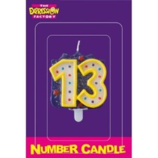 Multicoloured Age Thirteen Number Candle