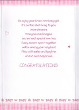 Birth Of Your Daughter – Pink Cute Bear Card