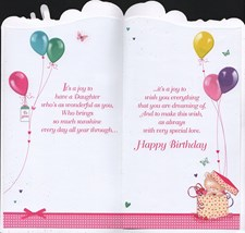 Birthday Daughter 3-D Large Card - Bear and Balloons Design