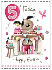 Fudge & Friends 5 Today Happy Birthday Card - Puppy & Cake Stall