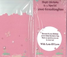 Great Granddaughter Birthday Card ~ Happy Birthday To A Special Great-Granddaugh