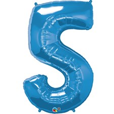 """Qualatex Blue '5' Giant 34"""" Number Foil Balloon"""