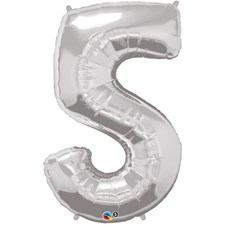 """Qualatex Silver '5' Giant 34"""" Number Foil Balloon"""