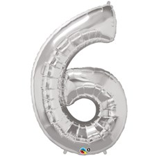 """Qualatex Silver '6' Giant 34"""" Number Foil Balloon"""