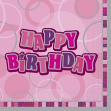 Pink All Ages Glitz Happy Birthday Napkins - Pack of 16
