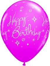 Pink Happy Birthday Wild Berry Latex Balloons  – Pack of 5