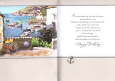 Birthday Age 90 Card  - Boat Scene