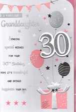 Birthday Age 30th Granddaughter Card - Bunting & Balloons