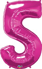 "Qualatex Magenta '5' Giant 34"" Number Foil Balloon"