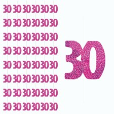 Pink Glitz 30th Birthday Hanging Decoration - Pack of 6 Strings