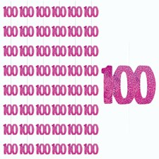 Pink Glitz Age One Hundred Birthday Hanging Decoration Pack of 6 Strings