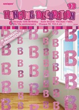 Pink Glitz 13th Birthday Hanging Decoration - Pack of 6 Strings