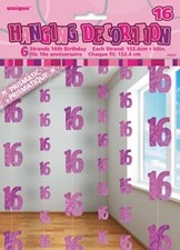 Pink Glitz 16th Birthday Hanging Decoration Pack of 6 Strings