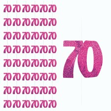 Pink Glitz 70th Birthday Hanging Decoration - Pack of 6 Strings