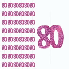 Pink Glitz 80th Birthday Hanging Decoration - Pack of 6 Strings