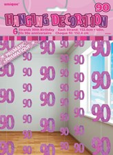 Pink Glitz 90th Birthday Hanging Decoration Pack of 6 Strings