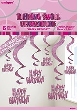 Pink All Ages Glitz Swirl Birthday Hanging Decoration - Pack of 6 Strings