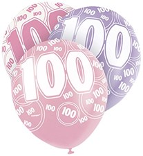 Pink Glitz Age One Hundred Birthday Latex Balloons  – Pack of 6 Assorted Colour