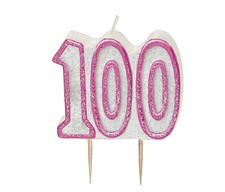 Pink Glitz Theme Number Candle – Number Hundred