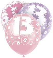 Pink Glitz 13th Birthday Latex Balloons  – Pack of 6 – Assorted Colours