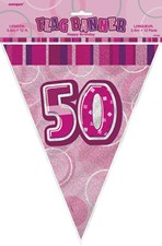 Birthday Pink Glitz 50th Bunting – 12 Ft / 3.65m