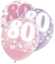 Pink Glitz 80th Birthday Latex Balloons  – Pack of 6 – Assorted Colours