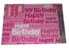 Gift Wrap Birthday Pink Multicoloured Deluxe Wrapping Paper - 2 Sheets & 1 Tag