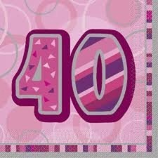 Pink Glitz 40th Birthday Napkins - Pack of 16
