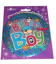Blue Pirate Themed Holographic 'Birthday Boy' Badge