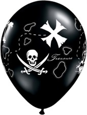 Qualatex Party Pirate Treasure Map Black Latex Balloons - Pack of 5