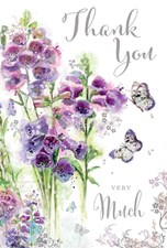 Secret Garden Thank You Very Much Card - Purple Flowers & Butterflies