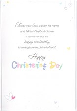 Christening Son Card - Font And Hearts