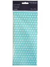 Tissue Paper Teal Polka Dot - Pack Of 3 Sheets
