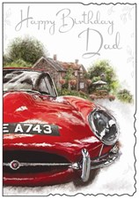 Jonny Javelin Birthday Dad Card - Red Car